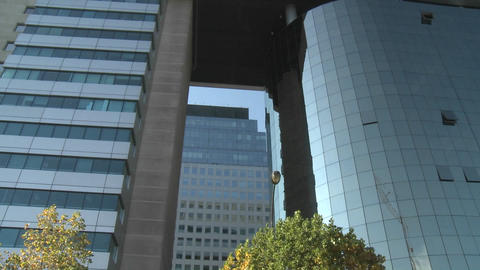 Pan across a modern hi-rise in Santiago, Chile Stock Video Footage