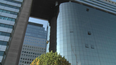 Pan across a modern hi-rise in Santiago, Chile Footage