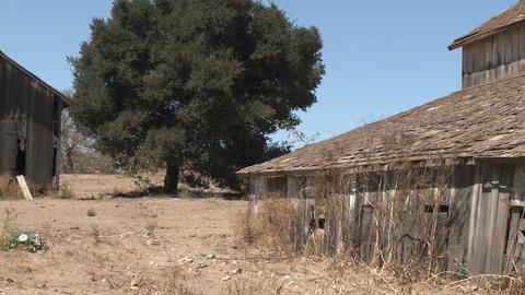 Pan across nn old barn in the Salinas Valley, Monterey County, California Footage