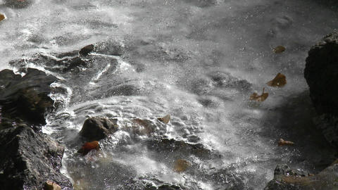 Close up running water and ice in a stream Stock Video Footage