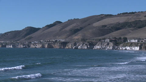 The Pacific coastline at Pismo Beach, California Stock Video Footage