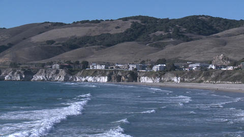 The Pacific coastline at Pismo Beach, California Footage