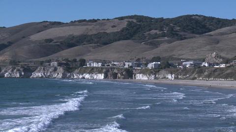 The Pacific coastline at Pismo Beach, California Footage