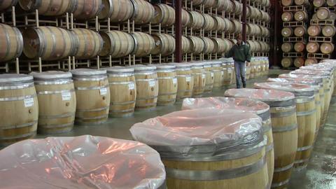 A winemaker checks the progress of a open barrel... Stock Video Footage