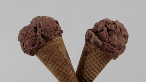 chocolate ice cream cones melt over time Stock Video Footage