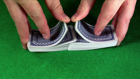 A deck of cards is shuffled Footage