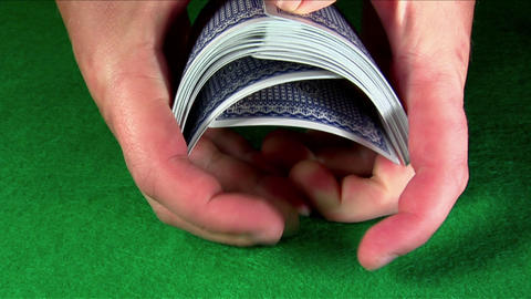 A deck of cards is shuffled Stock Video Footage