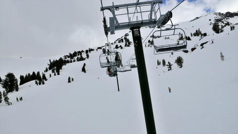 POV on a chairlift in time lapse Stock Video Footage