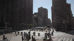 Aerial drone dolly shot thru NYC New York City Manhattan Madison Square Park Footage