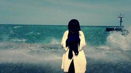 Girl. Waves Splashing Footage