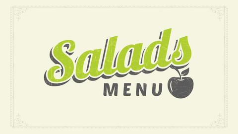 salads menu vintage text idea with blue and green lettering decorated with worn out cherry graphic Animation
