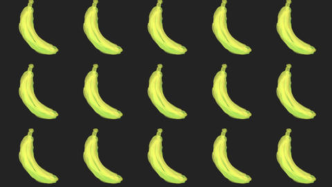 banana patterns, ideal footage for themes such as cooking, healthy life, diets and well-being Animation