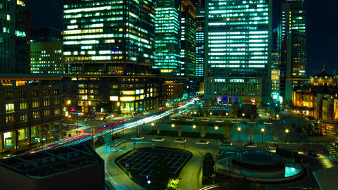 A timelapse of cityscape at the urban city in front of Tokyo station zoom Live Action