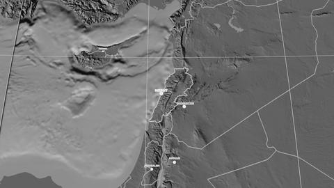 Zoom-in on Lebanon extruded. Grayscale contrasted Animation