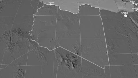 Zoom-in on Libya extruded. Grayscale contrasted Animation