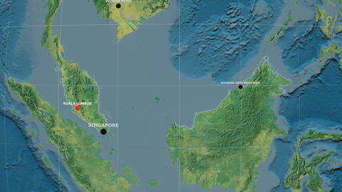 Zoom-in on Malaysia outlined. Topographic Animation