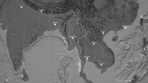 Zoom-in on Myanmar outlined. Grayscale contrasted Animation