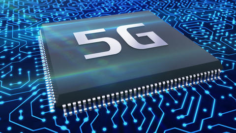 5g technology microchip on the circuit provides high speed network connection Live Action