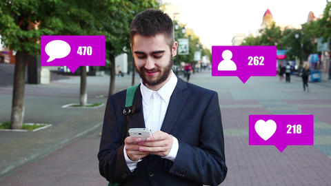Social notification icons next to a man using a smartphone Live Action