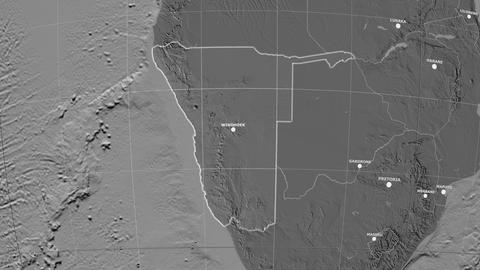 Zoom-in on Namibia outlined. Grayscale contrasted Animation