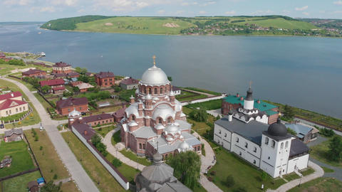A town-island Sviyazhsk in Russia surrounded by the river - religious objects Live Action