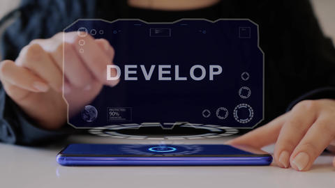 Female hand interacts hologram Develop Live Action