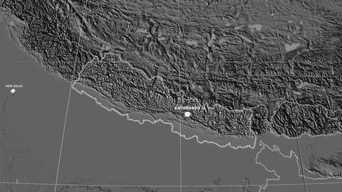 Zoom-in on Nepal extruded. Grayscale contrasted Animation