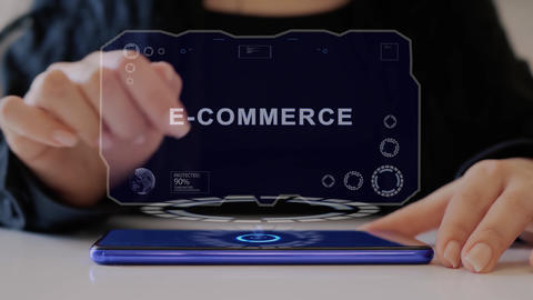Female hand interacts hologram E-commerce Live Action