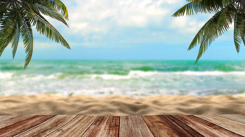 Palm trees by the sea. Tropics and Ocean Beach Animation
