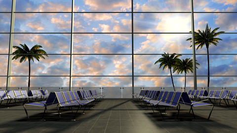 The airport is waiting tourists in a tropical country GIF