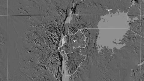 Zoom-in on Rwanda outlined. Grayscale contrasted Animation
