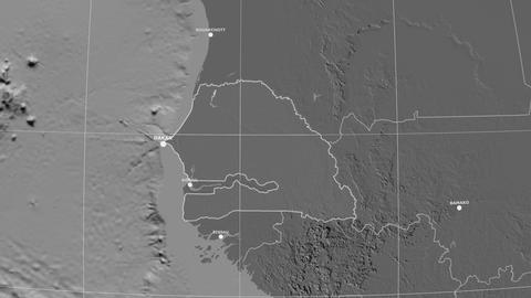 Zoom-in on Senegal outlined. Grayscale contrasted Animation