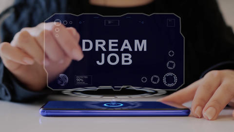 Female hand interacts hologram Dream job Live Action