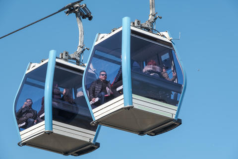 Teleferic cable car in Eyup, istanbul. Access to the famous Pierre Loti Hill is provided by cable フォト