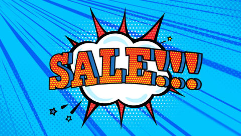 Animated looped pop art background with sale inscription Animation