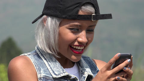 Young Woman Texting With Smart Phone Footage