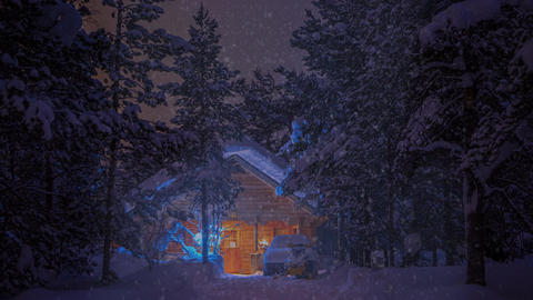 House in the Forest at Night and Snowfall. UHD Footage