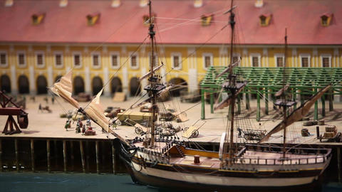 sailing ship in a cargo port Live Action