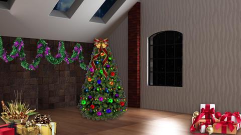 Christmas TV Studio Set 12- Virtual Background Loop Footage