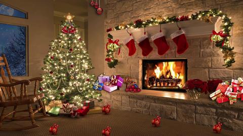 Christmas TV Studio Set 11- Virtual Background Loop Footage