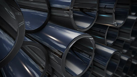 Metal tubes stack with reflection Animation