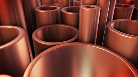 Stack of copper tubes. Industry Concept Animation
