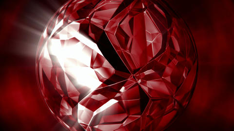 Rotating ruby crystal motion background seamless loop Animation