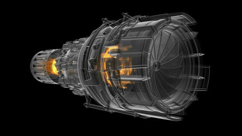 rotate jet engine turbine of plane, aircraft concept, aviation and aerospace Animation