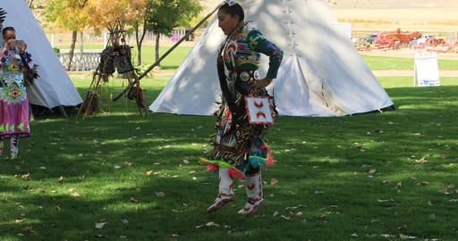 Female Native American dancer dance no sound DCI 4K 581 Footage