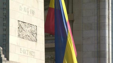 BUCHAREST, ROMANIA - SEPTEMBER 09: Close-up of Arcul de Triumf (Arch of Triumph) Footage