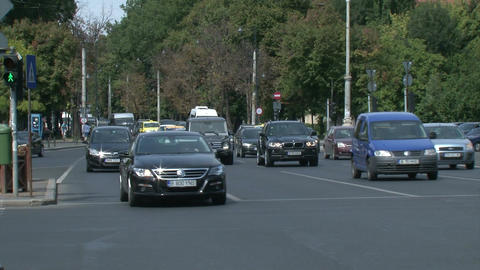 BUCHAREST, ROMANIA - SEPTEMBER 09: Heavy traffic in Piata Victoriei (Victory Squ Live Action