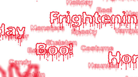 Background - Seamless loop of red Halloween words with alpha matte - 4K Animation