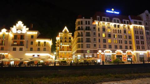 Golden Tulip Hotel. Night. Rosa Khutor. Sochi, Russia Footage