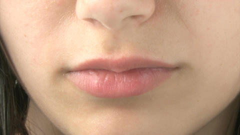 Close up of girl's mouth Footage